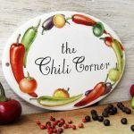 chili peppers personalized hand painted kitchen sign