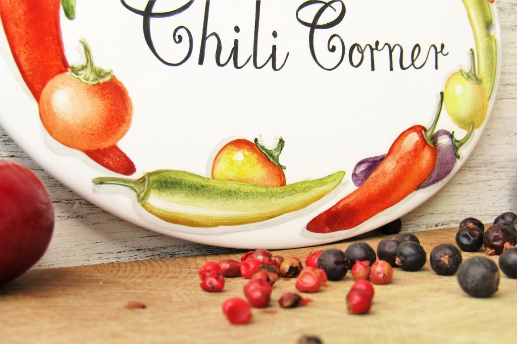 chili peppers kitchen sign detail