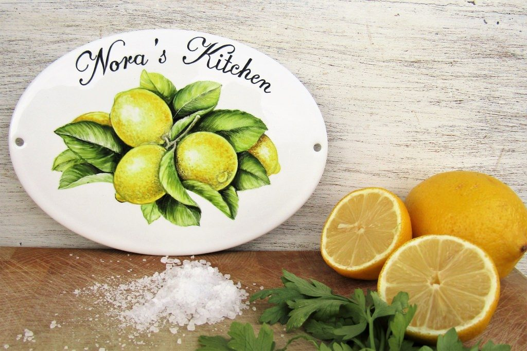 Custom kitchen name sign with lemon decoration