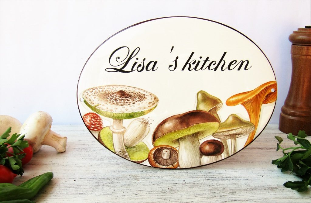 hand painted mushroom decor kitchen sign