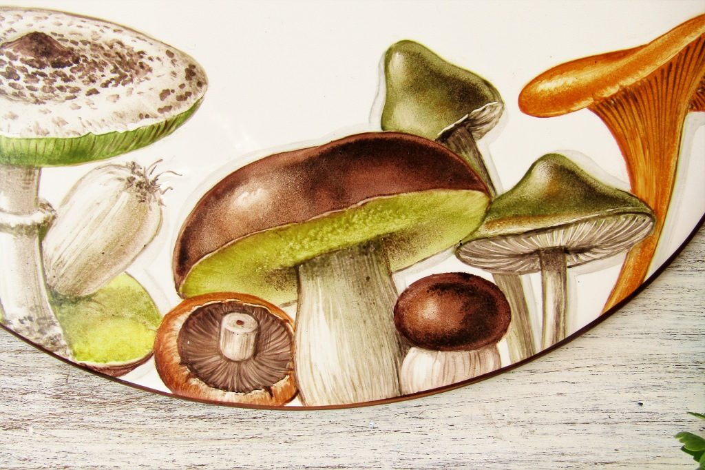 detail of hand painted personalized mushroom kitchen sign