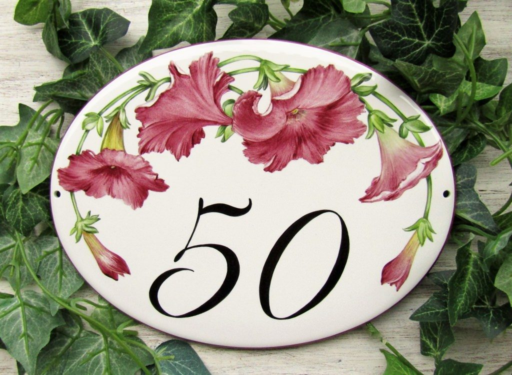 burgundy petunias house number plaque