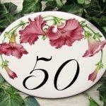 burgundy petunias house number plaque