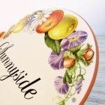 floral pattern decor detail on porcelain house sign