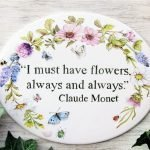 hand painted personalized garden sign with floral decoration