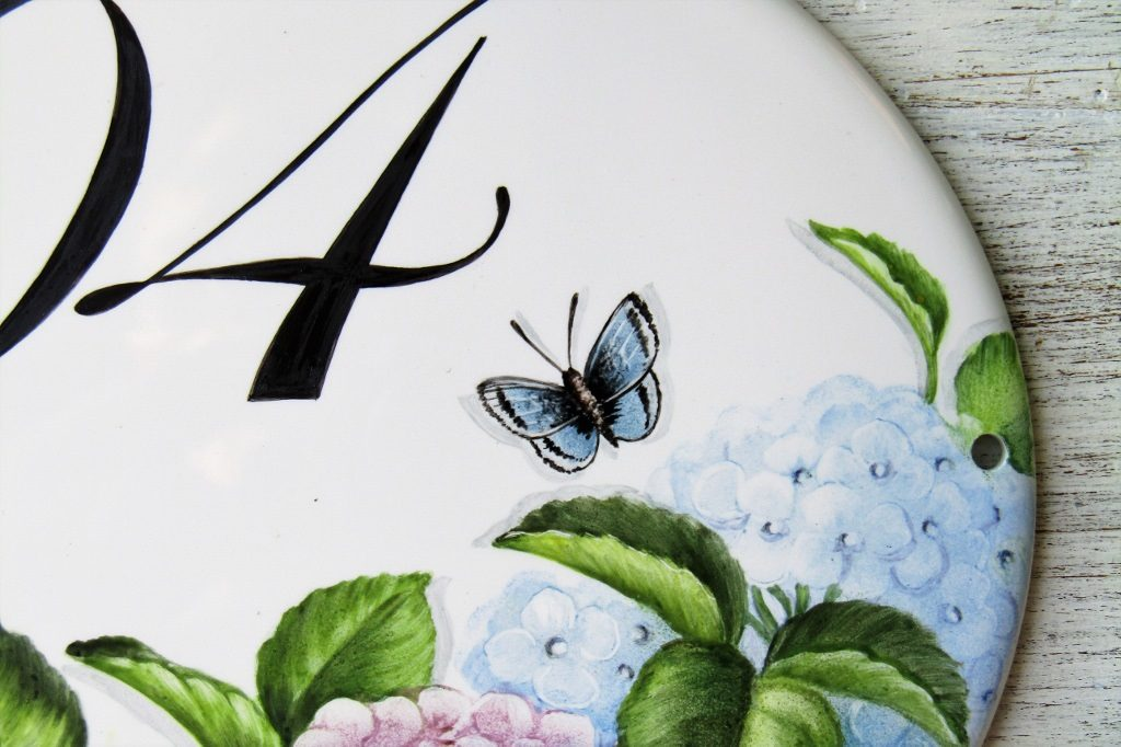 butterfly detail on hydrangea address plaque