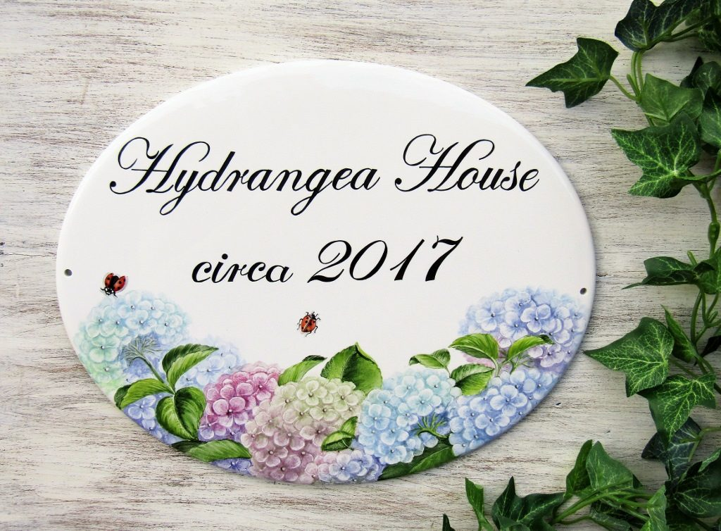 Custom hand painted porcelain signs with hydrangea decoration