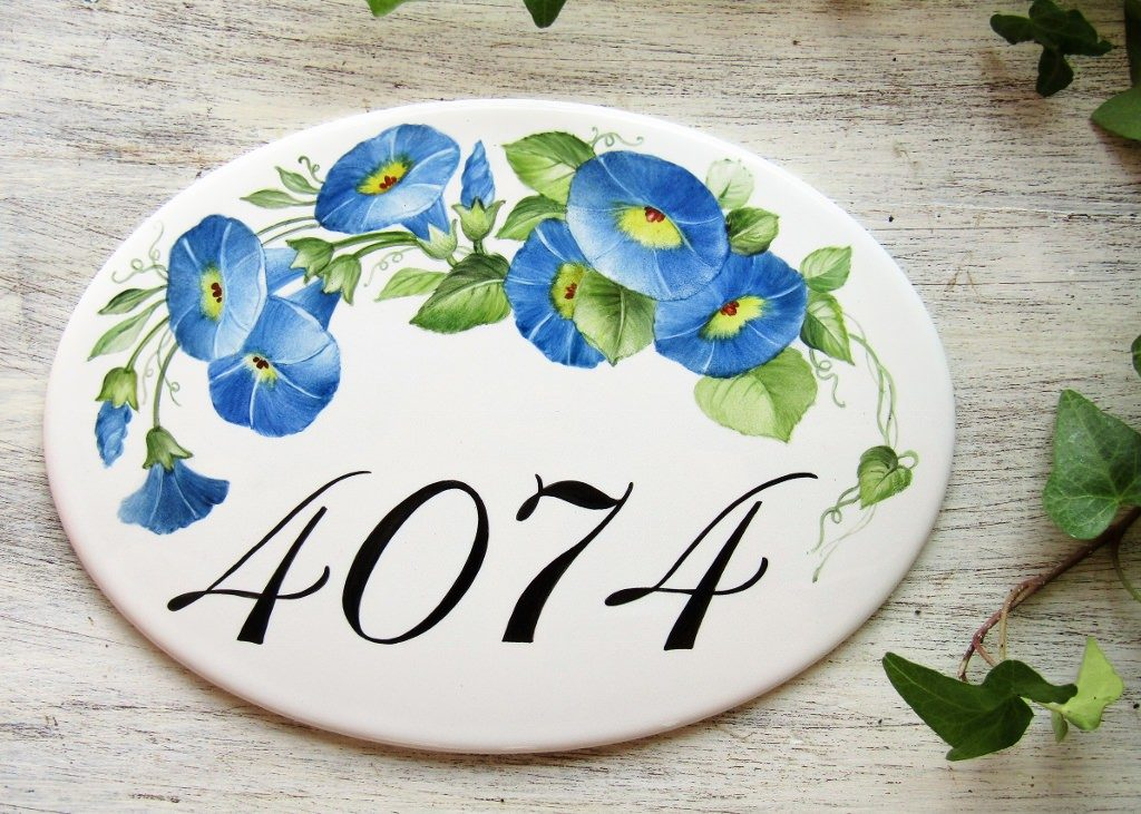 Morning Glories House Number Plaque