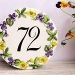 violets custom house number plaque
