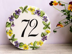 violets custom house number plaque