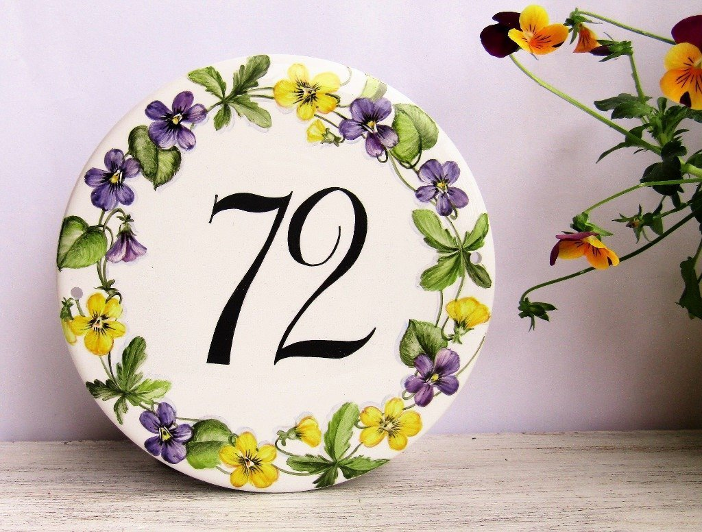 House Number Plaques Hand Painted By MyBluePalette - Ceramic street numbers