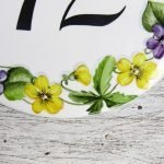 detail of violets round house number plaque