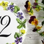 personalized violets round number plaque