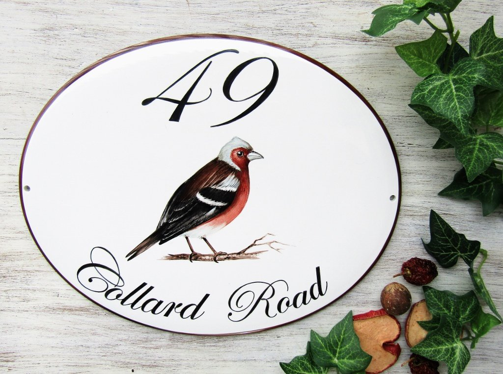 Custom hand painted address sign with bird decoration
