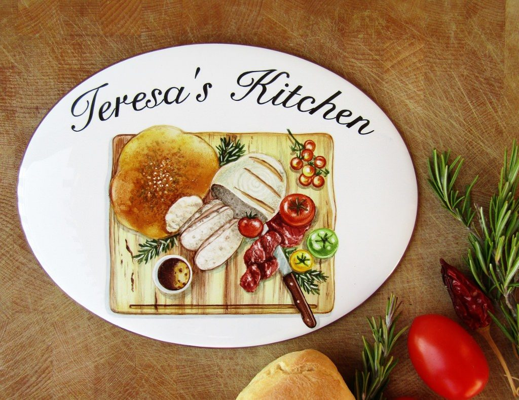 Personalized Hand Painted Kitchen Signs with cutting board decoration