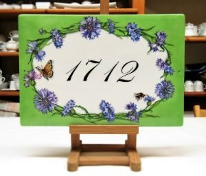 Cornflowers over green background custom address plaque