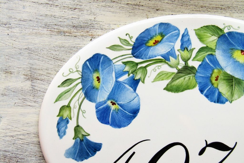 morning glories custom house number plaques