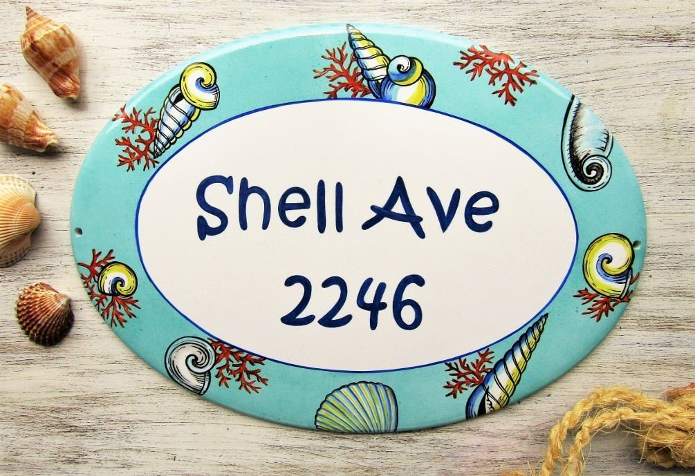 Beach House Street Address Sign