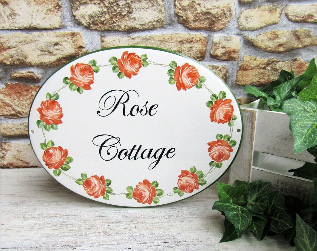 Custom Hand Painted Rose Cottage Porcelain House Sign