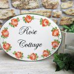 Custom Hand Painted Rose Cottage Porcelain House Sign