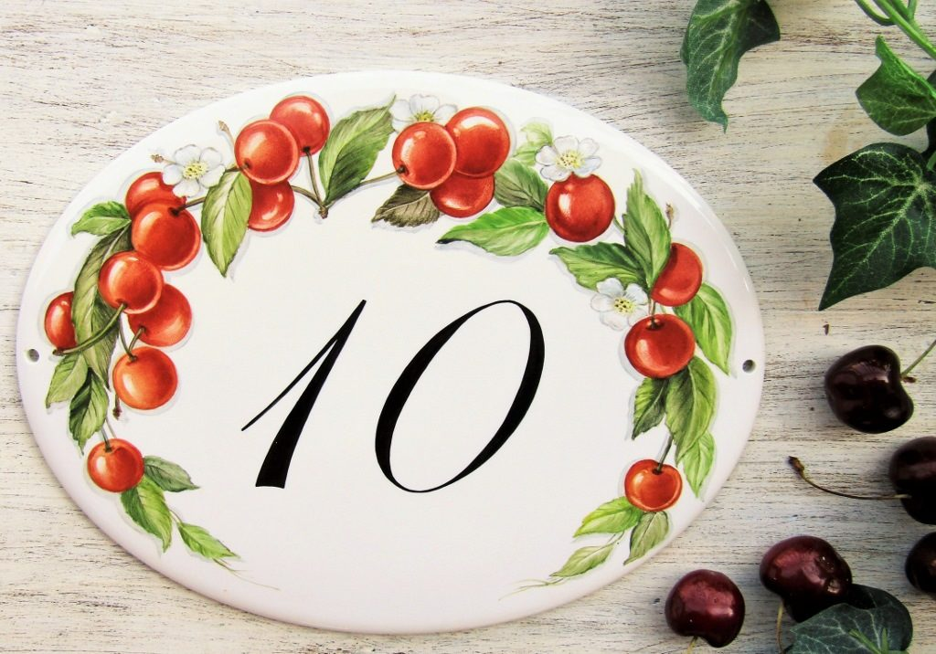 red cherry blossoms and fruits house number plaque