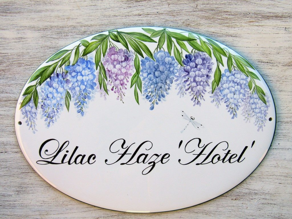 wisteria branches personalized house sign